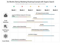Six Months Startup Marketing Roadmap Example With Organic Search