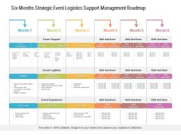 Six Months Strategic Event Logistics Support Management Roadmap