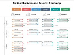 Six Months Swimlane Business Roadmap