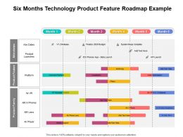 Six Months Technology Product Feature Roadmap Example
