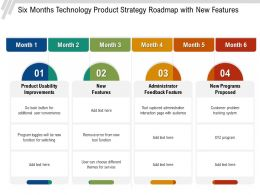 Six Months Technology Product Strategy Roadmap With New Features