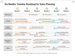 Six Months Timeline Roadmap For Sales Planning