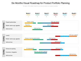 Six Months Visual Roadmap For Product Portfolio Planning