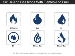 Six Oil And Gas Icons With Flames And Fuel Drop
