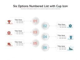 Six Options Numbered List With Cup Icon