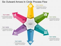 Six Outward Arrows In Circle Process Flow Flat Powerpoint Design
