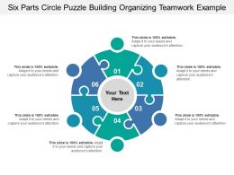 Six Parts Circle Puzzle Building Organizing Teamwork Example