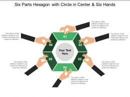Six Parts Hexagon With Circle In Center And Six Hands