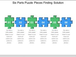 Six Parts Puzzle Pieces Finding Solution