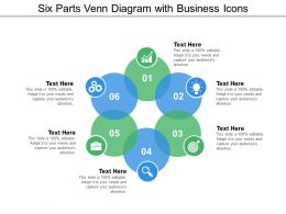 Six Parts Venn Diagram With Business Icons