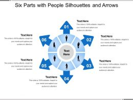 Six Parts With People Silhouettes And Arrows