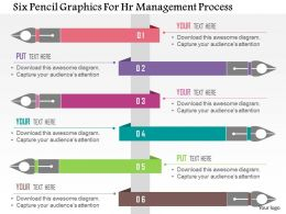 Six Pencil Graphics For Hr Management Process Flat Powerpoint Design