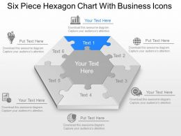 Six Piece Hexagon Chart With Business Icons Powerpoint Template Slide