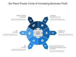 Six Piece Puzzle Circle Of Increasing Business Profit