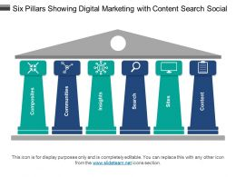 Six Pillars Showing Digital Marketing With Content Search Social