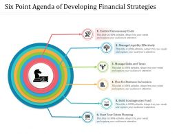 Six Point Agenda Of Developing Financial Strategies