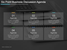 Six Point Business Discussion Agenda Ppt Example 2017