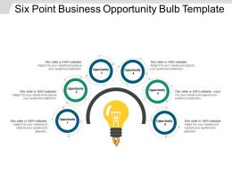 Six Point Business Opportunity Bulb Template PowerPoint Slide Themes