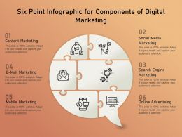 Six Point Infographic For Components Of Digital Marketing