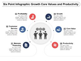 Six Point Infographic Growth Core Values And Productivity
