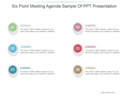 Six Point Meeting Agenda Sample Of Ppt Presentation