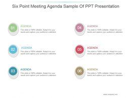 Six Point Meeting Agenda Sample Of Ppt Presentation