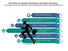 Six Point Of Career Promotion And Man Running With Briefcase Graphic
