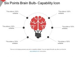 Six Points Brain Bulb Capability Icon Ppt Slide Themes