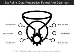 Six Points Data Preparation Funnel And Gear Icon