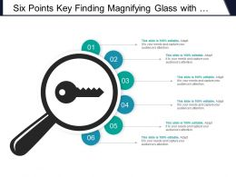 Six Points Key Finding Magnifying Glass With Key Icon