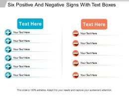 Six Positive And Negative Signs With Text Boxes