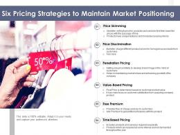 Six Pricing Strategies To Maintain Market Positioning