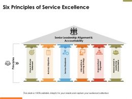 Six Principles Of Service Excellence Ppt Powerpoint Presentation File Slides