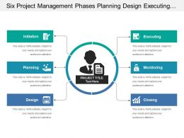 Six Project Management Phases Planning Design Executing Monitoring And Closing