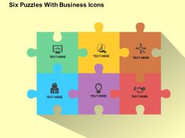 six_puzzles_with_business_icons_flat_powerpoint_design_Slide01