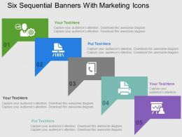 Six Sequential Banners With Marketing Icons Flat Powerpoint Design