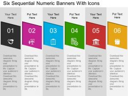 Six Sequential Numeric Banners With Icons Flat Powerpoint Design