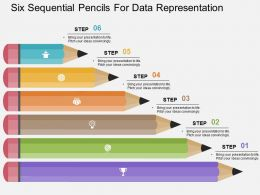Six Sequential Pencils For Data Representation Flat Powerpoint Design