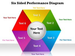 six sided performance diagram in hexagonal shape powerpoint diagram templates graphics 712