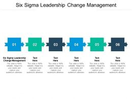 Six Sigma Leadership Change Management Ppt Powerpoint Presentation Model Infographic Cpb