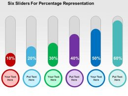 Six Sliders For Percentage Representation Flat Powerpoint Design