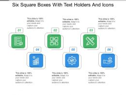 Six Square Boxes With Text Holders And Icons