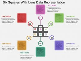 Six Squares With Icons Data Representation Flat Powerpoint Design