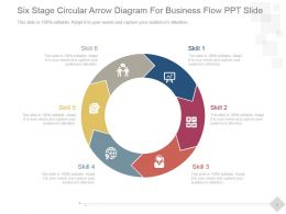 Six Stage Circular Arrow Diagram For Business Flow Ppt Slide