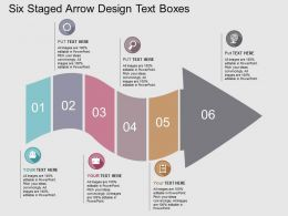 Six Staged Arrow Design Text Boxes Flat Powerpoint Design