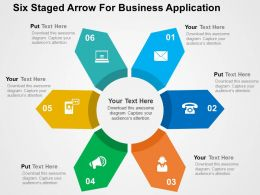 Six Staged Arrow For Business Application Flat Powerpoint Design