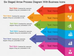 Six Staged Arrow Process Diagram With Business Icons Flat Powerpoint Design