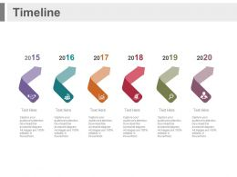 Six Staged Arrows Year Based Timeline Powerpoint Slides