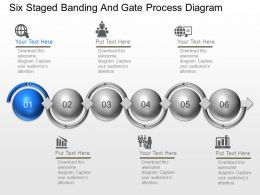 Six Staged Banding And Gate Process Diagram Powerpoint Template Slide