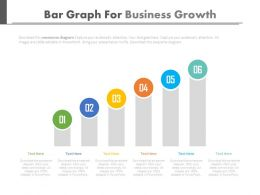 Six Staged Bar Graph For Business Growth Powerpoint Slides